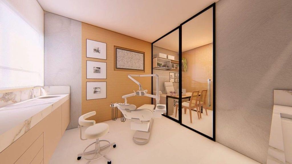 decoração moderna em cores claras para consultorio odontologico