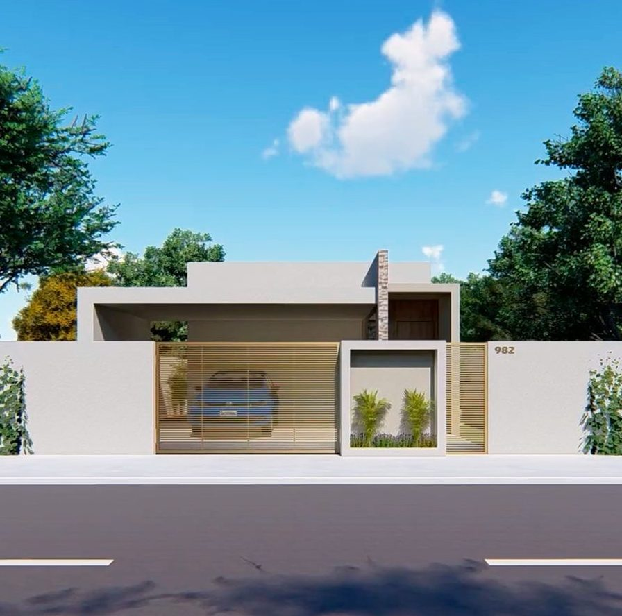 fachada de casa popular em cores neutras clean