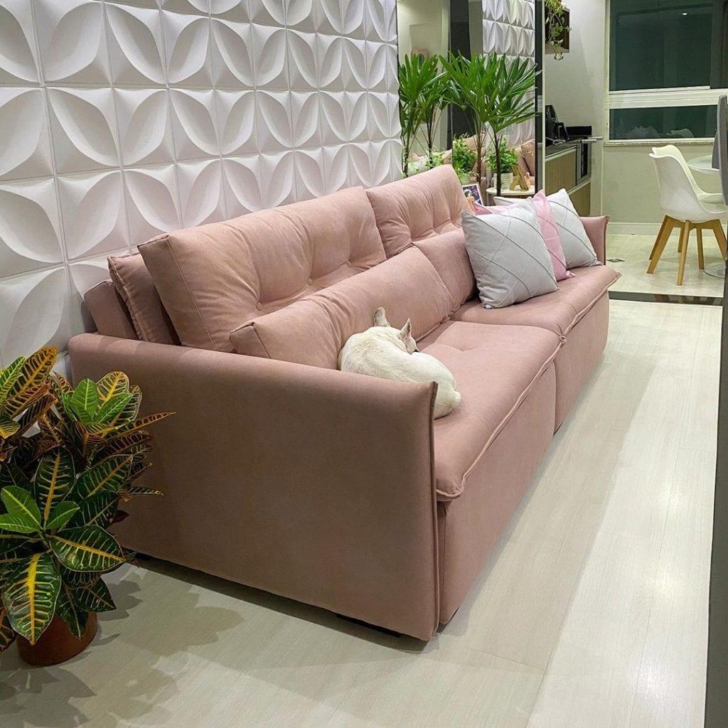sofa rosa claro retratil