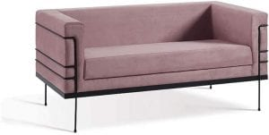 sofa rosa claro moderno em veludo