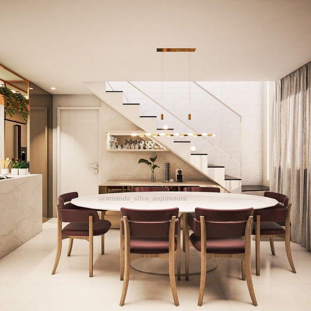 mesa de jantar oval com 6 cadeiras