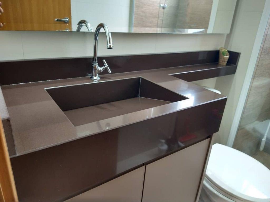 cuba esculpida banheiro em granito marrom absoluto
